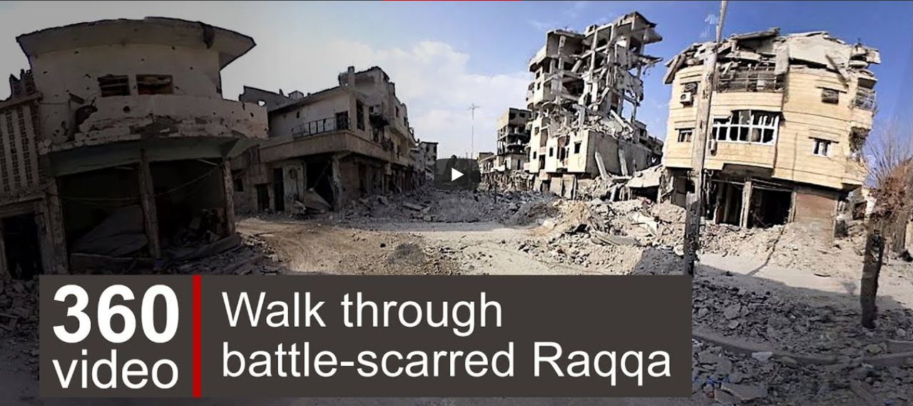 Screenshot: Raqqa in 36-graden video van de BBC