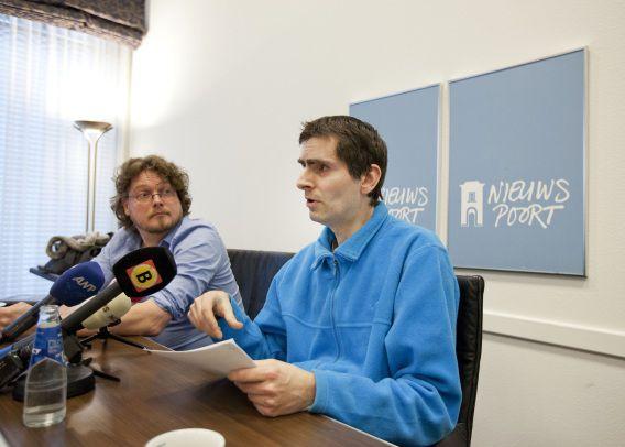 Marthijn Uitenboogaard van de Vereniging Martijn tijdens een persconferentie in perscentrum Nieuwspoort in 2013 over de rechtszaak om pedofielenvereniging Martijn te verbieden.