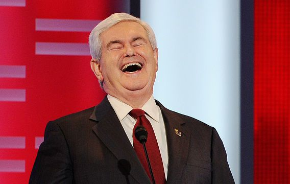 DES MOINES, IA - DECEMBER 10: Former speaker of the House Newt Gingrich reacts during the ABC News GOP Presidential debate on the campus of Drake University on December 10, 2011 in Des Moines, Iowa. Rivals were expected to target front runner Gingrich in the debate hosted by ABC News, Yahoo News, WOI-TV, The Des Moines Register and the Iowa GOP. Kevork Djansezian/Getty Images/AFP == FOR NEWSPAPERS, INTERNET, TELCOS & TELEVISION USE ONLY ==