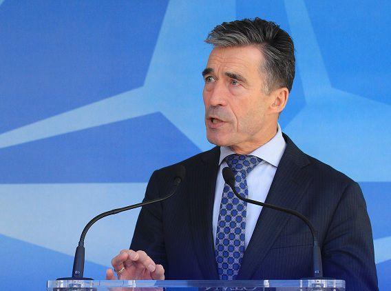 Anders Fogh Rasmussen na de ontmoeting met de ambassadeurs op het hoofdkantoor van de NAVO in Brussel.