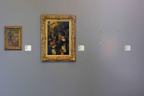 Op deze foto van 18 oktober 2012 is een lege plek te zien waar eerst het schilderij La Liseuse en Blanc et Jaune van Henri Matisse.