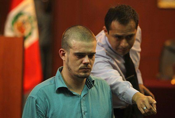 Joran Van der Sloot tijdens de rechtszaak tegen hem in Lima, Peru.