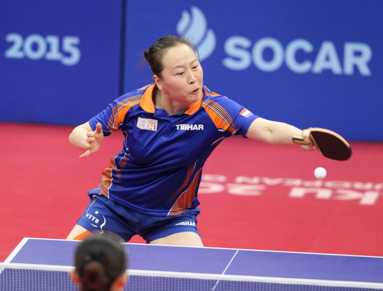 Li Jiao in actie tijdens de halve finales.