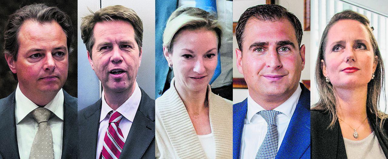 Vlnr: Barry Madlener, Martin Bosma, Lilian Helder (nu al Tweede-Kamerlid), Gidi Markuszower (nu Eerste Kamer) en Fleur Agema (Tweede Kamer).