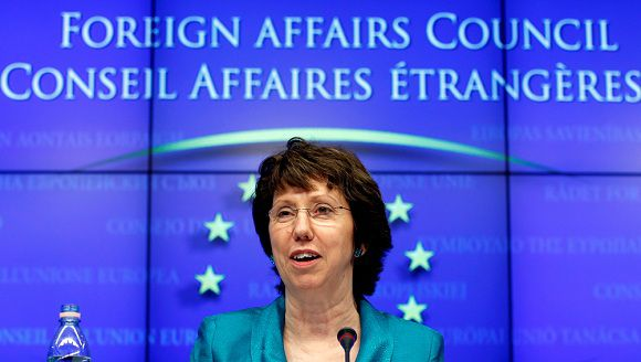 Caption: European Union High Representative for Foreign Affairs and Security Policy Catherine Ashton addresses a news conference during an EU foreign ministers meeting at the EU Council in Brussels May 23, 2011. REUTERS/Francois Lenoir (BELGIUM - Tags: POLITICS)