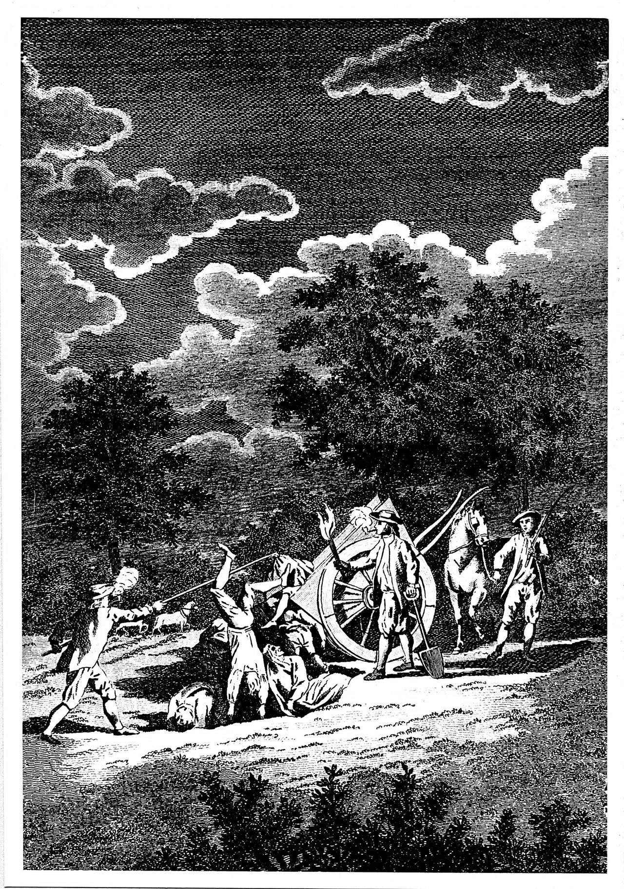 Burying victims of the Plague of London (1665) at night in multiple graves. Two of men are smoking pipes, partly to combat stench of corpses, partly in hope that Tobacco smoke would preventing them becoming infected. Copperplate engraving