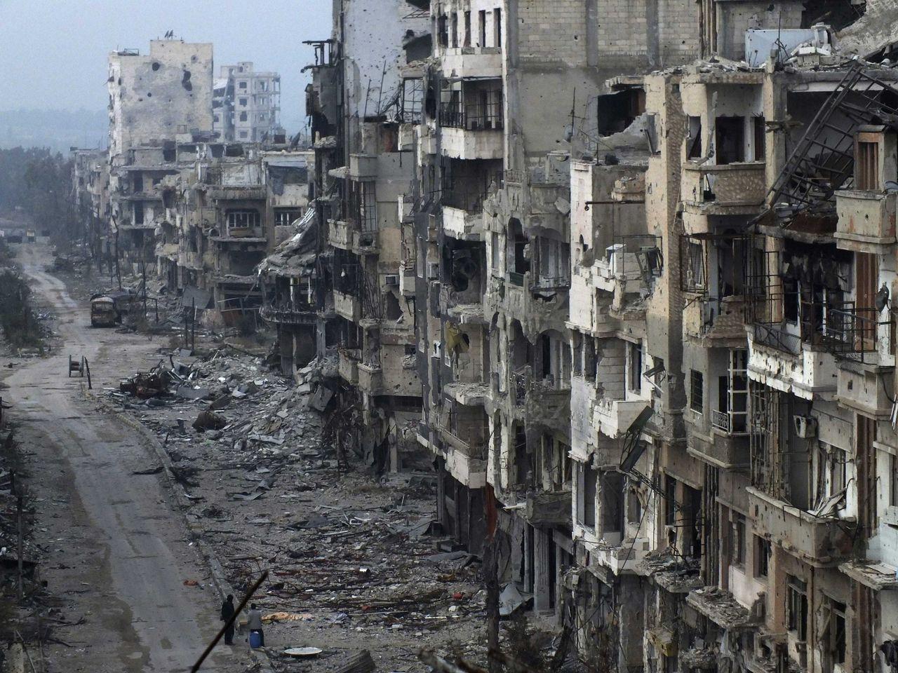 Straatbeeld van januari dit jaar in Homs.