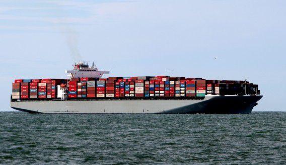HOEK VAN HOLLAND - Een container schip op de noordzee, opweg naar de haven van Rotterdam. ANP PHOTO ROBIN UTRECHT