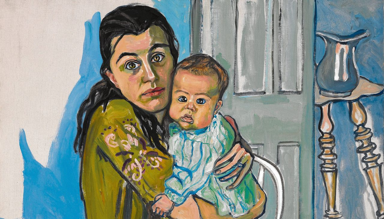 Detail uit Mother and Child (Nancy and Olivia), 1967, Olieverf op doek, 99,7 x 91,4 cm.