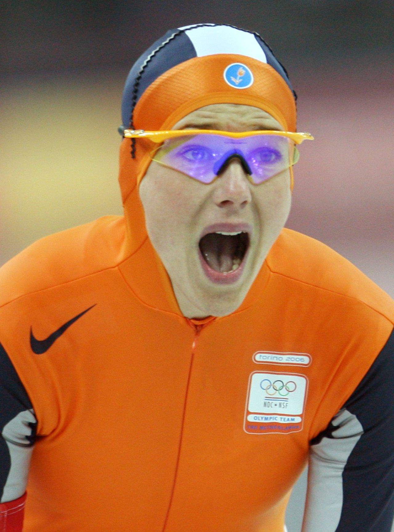 Marianne Timmer of The Netherlands reacts after her race in the Ladies' 1000m speed skating competition during the 2006 Winter Olympics 19 February 2006, at the Oval Lingotto in Turin. Timmer clocked 1:16.05. AFP PHOTO/TORSTEN SILZ