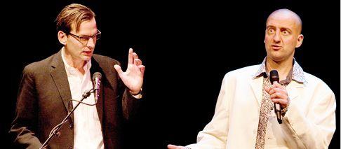 Spoedcursus Humor Cartoonschrijver Bastiaan Geleijnse (Fokke & Sukke) en cabaretier Rob Urgert geven de Spoedcursus Humor, een voorstelling over humor verluchtigd met lichbeelden. Urgert, de cabaretier van de twee, is de man die losjes met de microfoon heen en weer loopt en als een komiek de zaal bespeelt. Terwijl de studieus ogende Geleijnse voornamelijk achter het spreekgestoelte staat en op droogkomische toon zijn cursusmateriaal voorleest. Tournee t/m 26 april. Inl. 015-2159415, www.cursushumor.nl