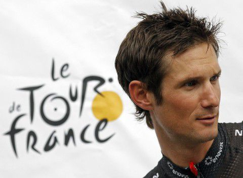 RadioShack-Nissan rider Frank Schleck of Luxembourg poses on the podium during the team presentation ahead of the start of the 99th Tour de France cycling race in Liege in this June 28, 2012 file photo. The Tour de France was rocked on Tuesday when Luxembourg's Frank Schleck, third overall in last year's race, was pulled out of the 2012 edition after failing a dope test for a diuretic. REUTERS/Stephane Mahe/Files (BELGIUM - Tags: SPORT CYCLING TPX IMAGES OF THE DAY)
