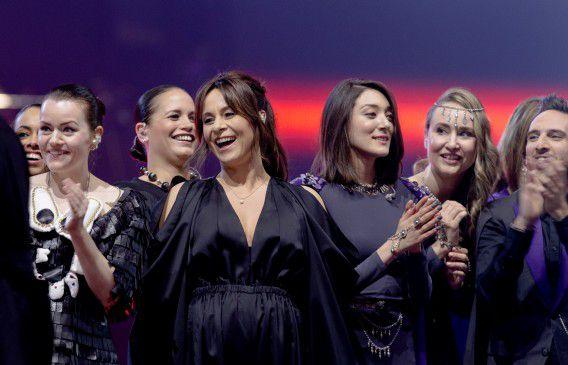 Trijntje Oosterhuis tijdens de repetities op het Eurovisie Songfestival 2015 in Wenen.