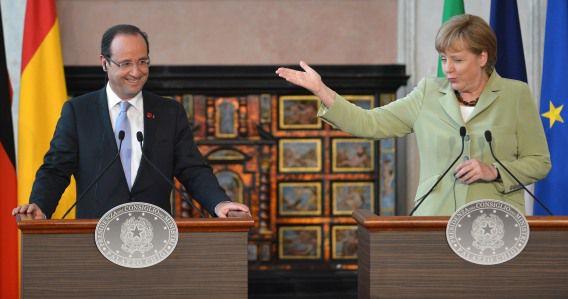 De Franse president Francois Hollande wil eerst een bankenunie en dan een politieke unie, terwijl Angela Merkel eerst een politieke unie wil invoeren.