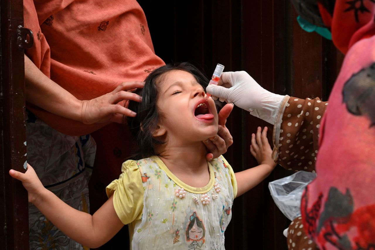 Polio-inentingscampagne in Lahore, Pakistan
