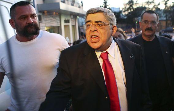 De leider van Gouden Dageraad, Nikos Mihaloliakos, in mei in Athene.
