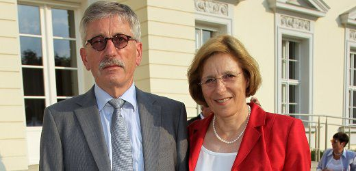 BERLIN - JULY 02: Thilo Sarrazin, member of the board of the German Bundesbank, and his wife Ursula attend the President's annual summer garden party hosted by newly-elected German President Christian Wulff and his wife First Lady Bettina Wulff at Schloss Bellevue on July 2, 2010 in Berlin, Germany. The party was Wulff's first official event as president following his confirmation ceremony earlier in the day. (Photo by Sean Gallup/Getty Images)