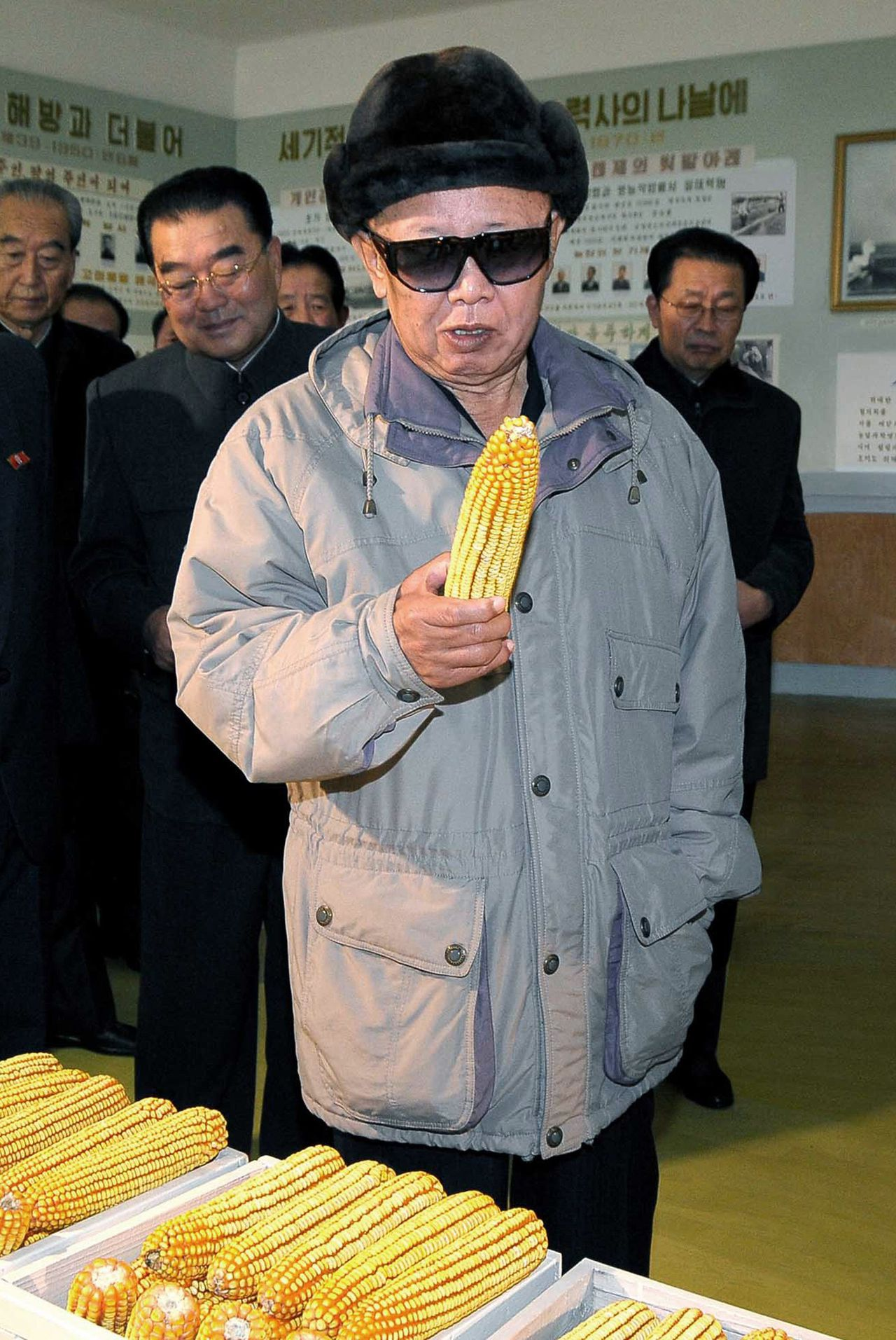 "North Korean leader Kim Jong-il holds a piece of corn during his visit to Dongbong collective farm in North Korea, in this undated picture released on November 8, 2009 by North Korea's official news agency KCNA. North Korean leader Kim Jong-il died on a train trip, state television reported on December 19, 2011 sparking immediate concern over who is in control of the reclusive state and its nuclear programme. A tearful announcer dressed in black said the 69-year old had died on December 17, 2011 of physical and mental over-work on his way to give ""field guidance"". REUTERS/KCNA/Files (NORTH KOREA - Tags: POLITICS OBITUARY) . QUALITY FROM SOURCE. NO THIRD PARTY SALES. NOT FOR USE BY REUTERS THIRD PARTY DISTRIBUTORS"