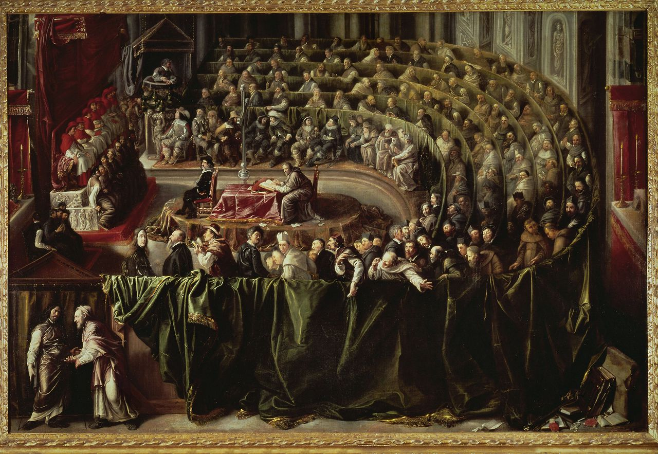 Trial of Galileo Galilei before the Inquisition, 1633. The scientist and astronomer proved Copernicus' and Kepler's theories of a sun-centered system, a theory the Catholic Church had declared erroneous.