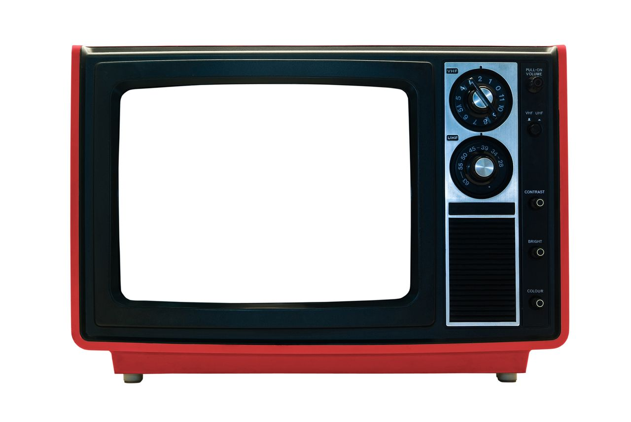 Retro TV Isolated with Clipping Paths. File contains three clipping paths. One for the outline, one for the screen and one for the casing to allow re-colouring