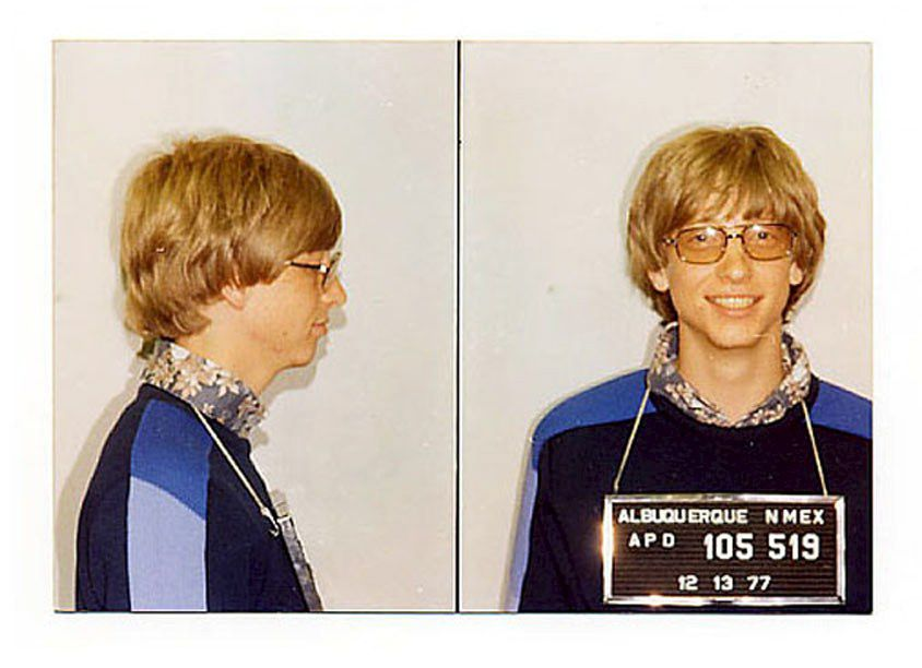 Microsoft boss Bill Gates was photographed by the Albuquerque, New Mexico police in 1977 after a traffic violation (details of which have been lost over time). Foto: Eyevine / Hollandse Hoogte