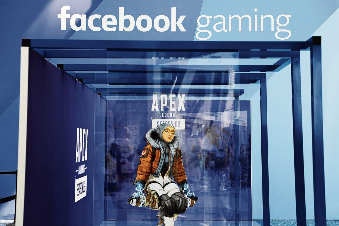 Een display van Facebook Gaming op gamebeurs E3 in Los Angeles.