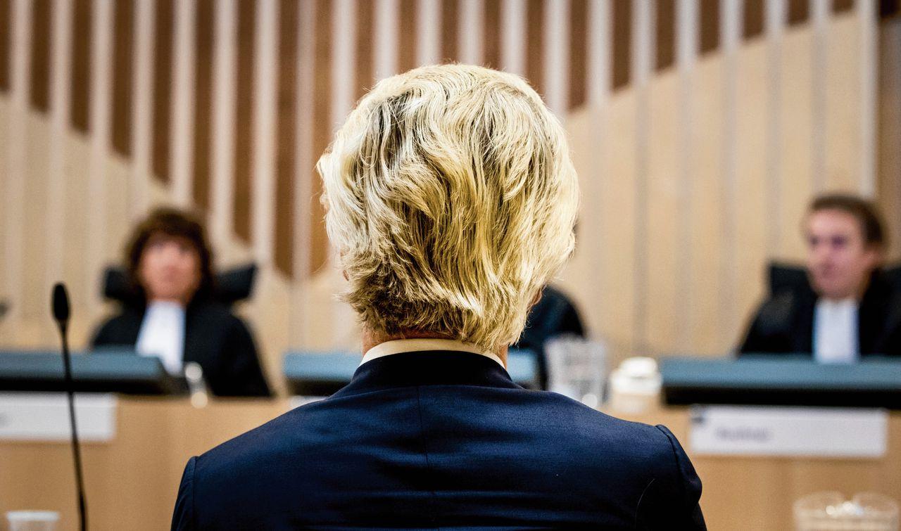 PVV-voorman Geert Wilders in de rechtszaal.