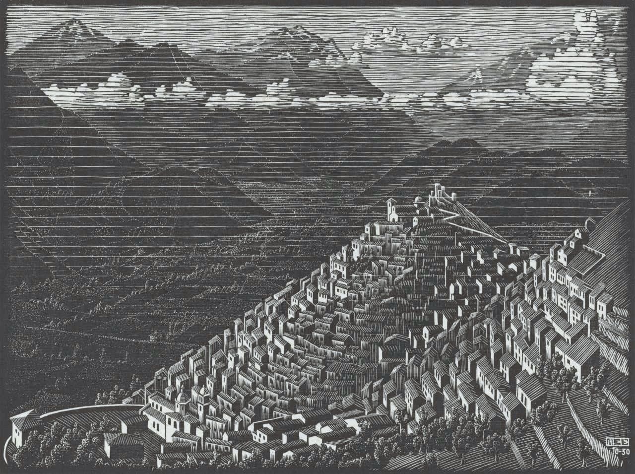 Houtsnede van Italiaans landschap, door M.C. Escher uit 1930: 'Morano, Calabria'
