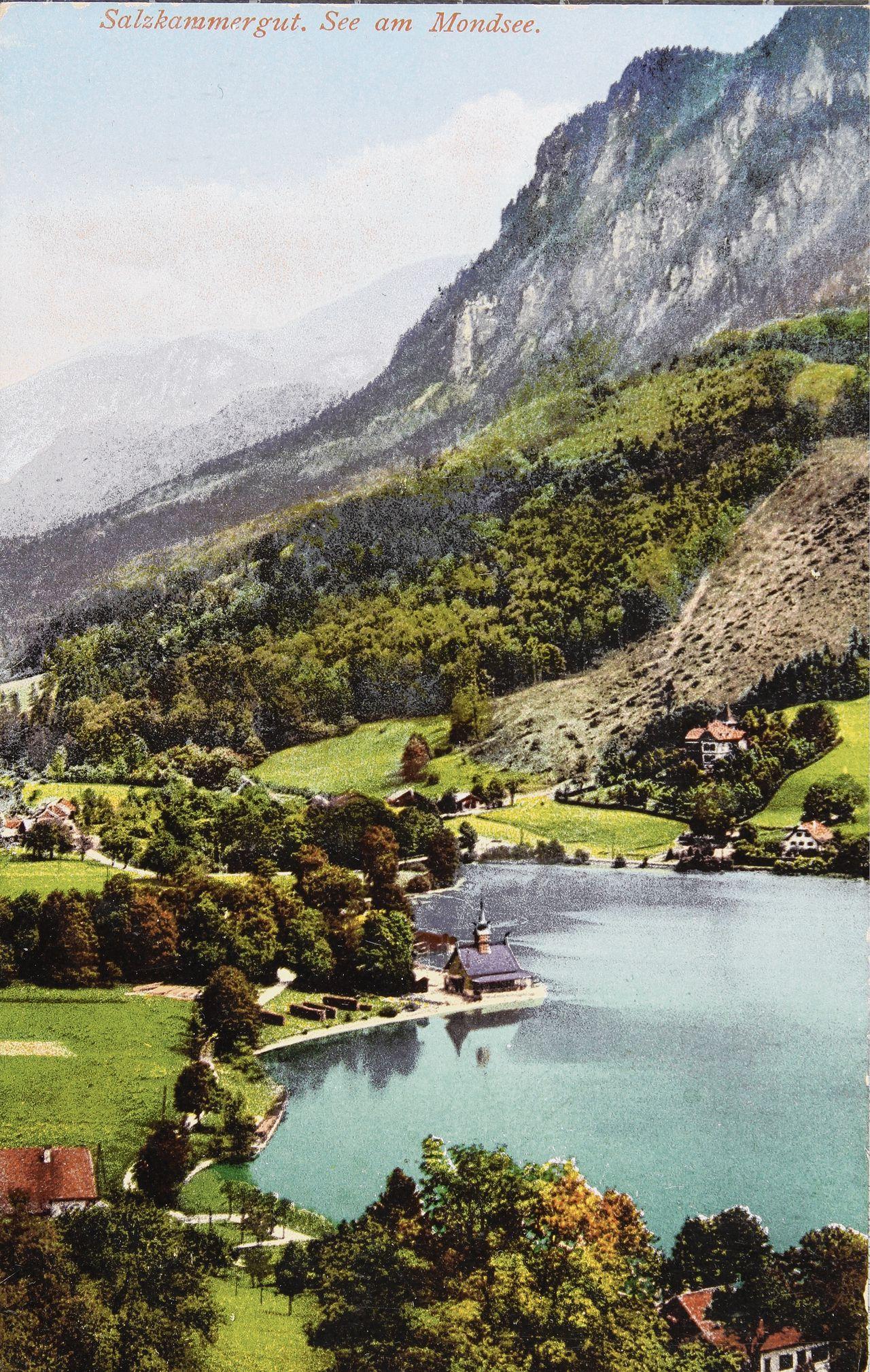 Een ansichtkaart uit 1910 van het dorp Mondsee