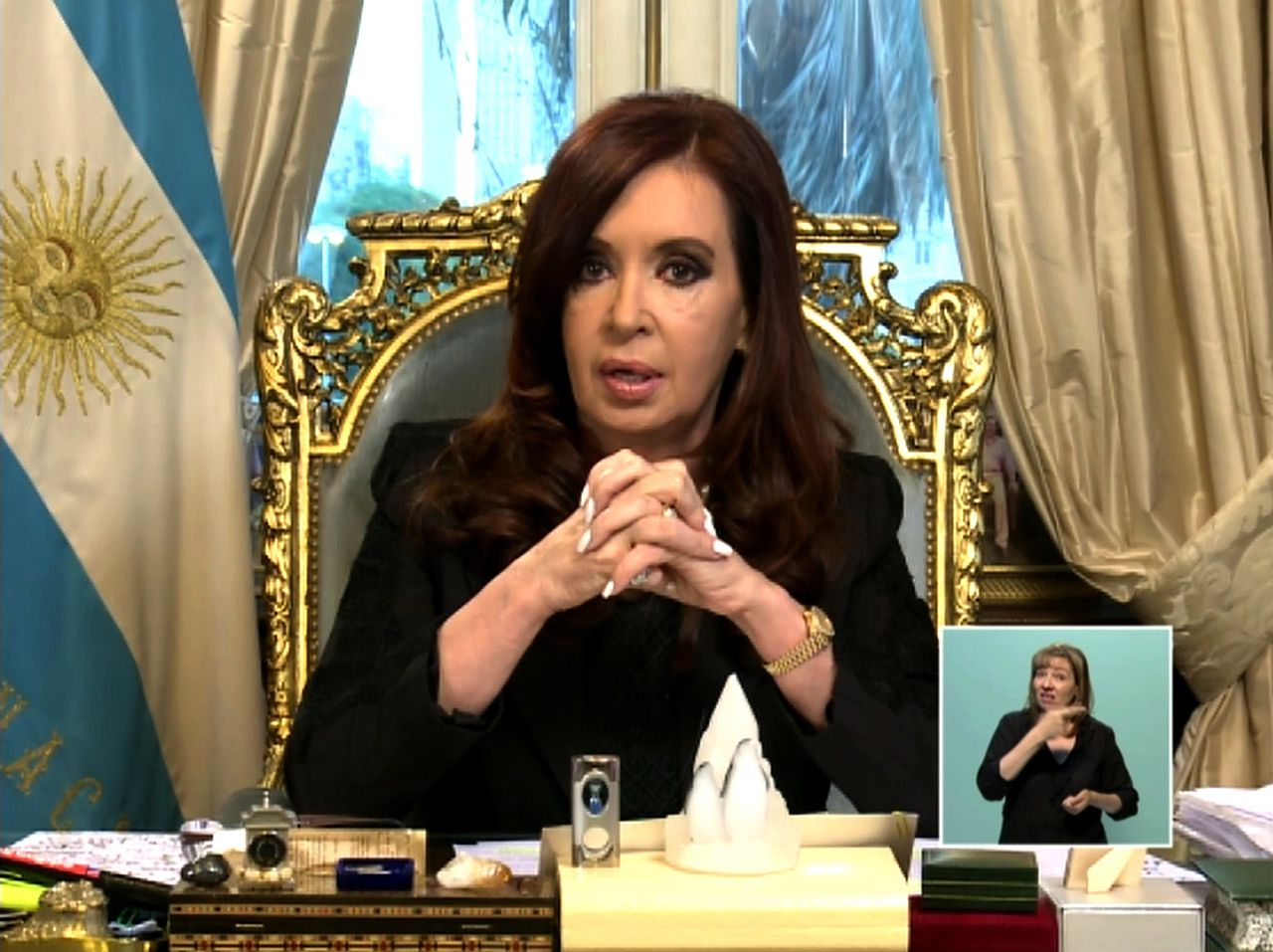 "TV grab from the government-sponsored Canal 7 channel of Argentine President Cristina Fernandez de Kirchner announcing during an official broadcast at the Government Palace in Buenos Aires on February 7, 2013 the delivering to the Argentine Congress for its endorsement of the bilateral agreement signed between Argentina and Iran to set up a commission to probe the 1994 bombing of a Jewish center in Buenos Aires. AFP PHOTO /CANAL 7/HO RESTRICTED TO EDITORIAL USE - MANDATORY CREDIT ""AFP PHOTO /CANAL 7/HO"" - NO MARKETING NO ADVERTISING CAMPAIGNS - DISTRIBUTED AS A SERVICE TO CLIENTS"