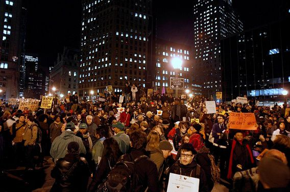 Occupy Wall Street demonstrators gather in Foley Square during what protest organizers called a day of action in New York November 17, 2011. New York police prevented protesters from shutting down Wall Street on Thursday, arresting more than 200 people in repeated clashes with an unexpectedly small but spirited Occupy Wall Street rally. REUTERS/Jessica Rinaldi