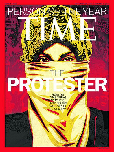 """This image released by Time Magazine shows the Person of the Year issue featuring """"The Protester."""" The magazine on Wednesday, Dec. 14, 2011 cited dissent across the Middle East that has spread to Europe and the United States, and says these protesters are reshaping global politics. (AP Photo/Time Magazine)"""