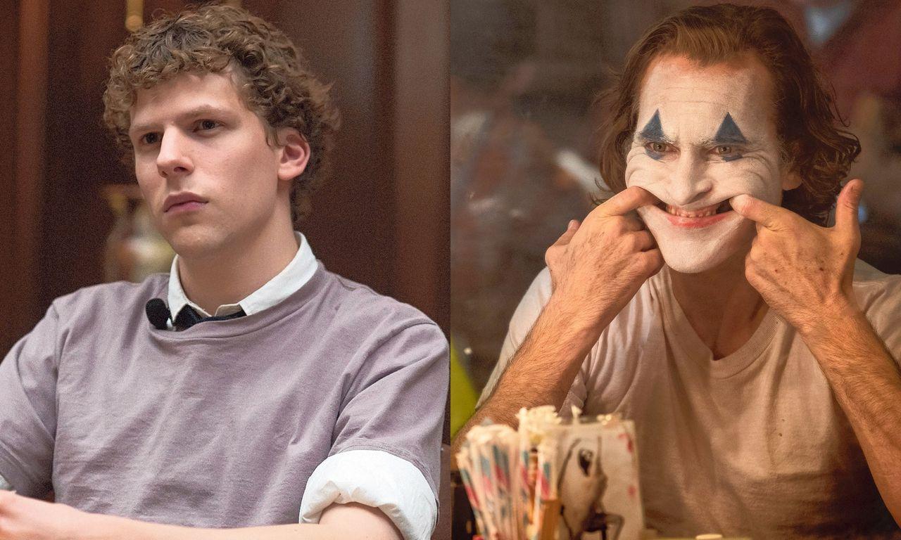 Niets heeft de film de afgelopen tien jaar zo beïnvloed als sociale media en superhelden. Links Jesse Eisenberg als Mark Zuckerberg in 'The Social Network', rechts Joaquin Phoenix als Arthur Fleck in 'Joker'.