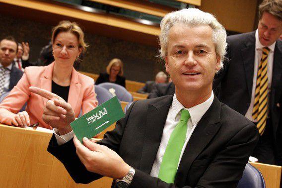 PVV-leider Wilders en de anti-islamsticker.