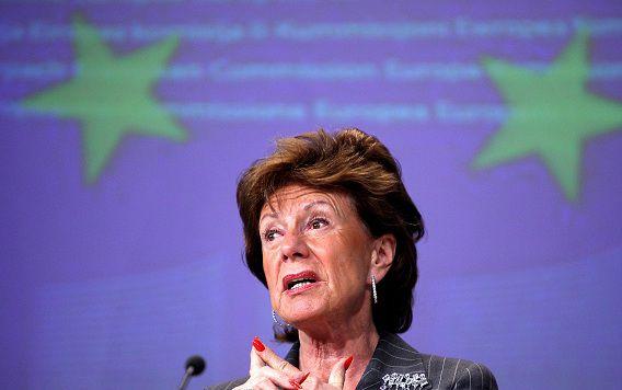 VVD-politica Neelie Kroes blijkt de bedenker van de PvdA-uitdrukking 'het afschudden van de ideologische veren'.