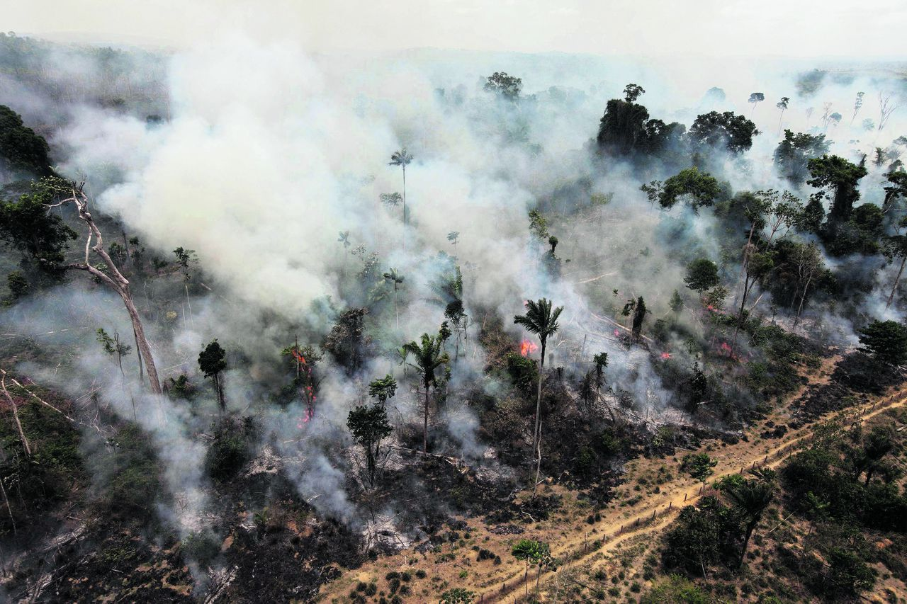 FILE - In this Sept. 15, 2009, file photo, a forest in the Amazon is illegally burnt on the outskirts of Novo Progresso, northern Brazilian state of Para. Annual destruction of the Amazon rain forest fell to its lowest recorded level this year, Brazilian authorities said Monday, hailing an enforcement crackdown for the drop. The destruction between August 2010 through July 2011 was about 2,410 square miles (6,240 square kilometers), according to the National Institute for Space Research. (AP Photo/Andre Penner, file)
