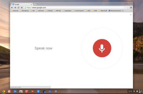 Google Voice Search op de Chromebook Pixel.