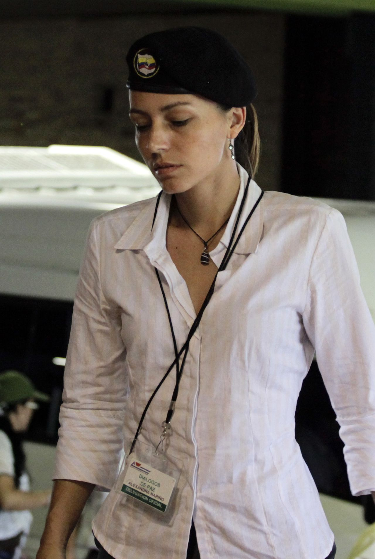 Tanja Nijmeijer of the Netherlands, an active member of the FARC rebel group, arrives to talks in Havana November 19, 2012. Colombia's Marxist FARC rebels announced a unilateral two-month ceasefire on Monday as they opened negotiations with the government in an attempt to restore peace after nearly half a century of war. The FARC will halt all offensive military operations and acts of sabotage against infrastructure beginning at midnight on Monday night and running through Jan. 20, FARC lead negotiator Ivan Marquez said as he arrived for talks in Havana. REUTERS/Desmond Boylan (CUBA - Tags: POLITICS CIVIL UNREST)