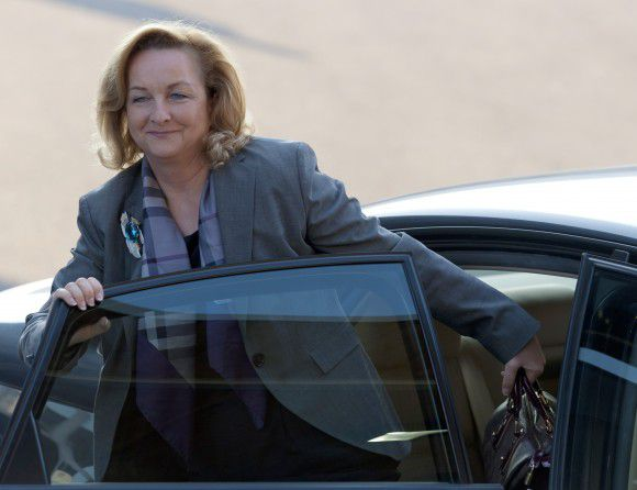 Austrian Finance Minister Maria Fekter arrives prior to an ECOFIN council meeting on October 4, 2011 at EU Headquarters in Luxembourg. AFP PHOTO / JEAN-CHRISTOPHE VERHAEGEN