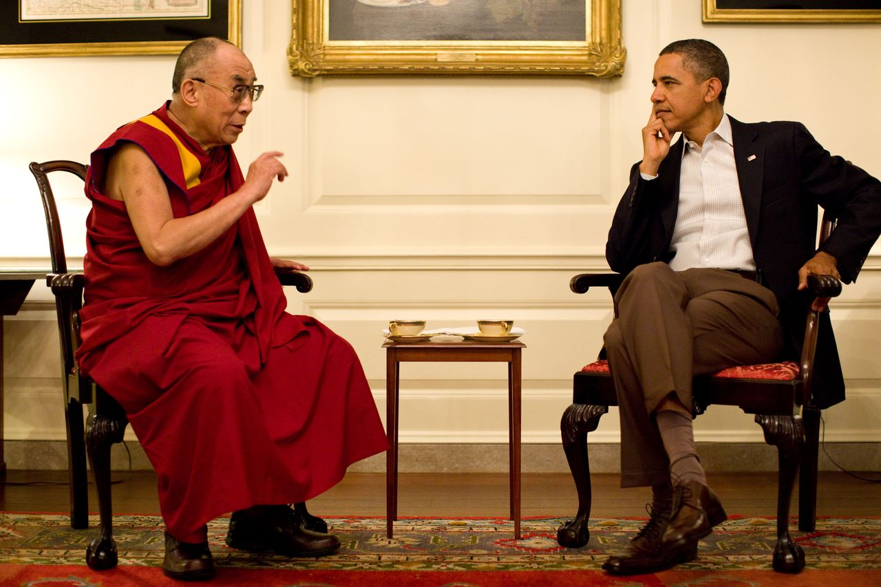 President Barack Obama meets with His Holiness the XIV Dalai Lama in the Map Room of the White House, Saturday, July 16, 2011. (Official White House Photo by Pete Souza)