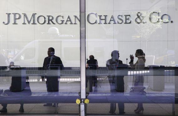 Lobby van het hoofdkantoor van JP Morgan Chase in New York.