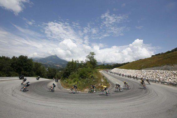 Een haarspeldbochtje in de achttiende etappe van de afgelopen Tour.