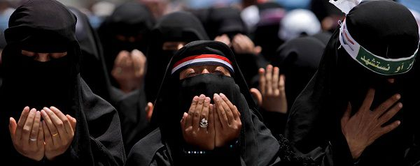 Caption: Female anti-government protestors chant prayers during a demonstration demanding the resignation of Yemeni President Ali Abdullah Saleh in Sanaa, Yemen, Sunday, April 17, 2011. Yemen's anti-government movement took up the issue of women's rights in the conservative Muslim nation on Saturday, as thousands of demonstrators seeking the president's ouster denounced his comments against the participation of women in protest rallies. (AP Photo/Muhammed Muheisen)