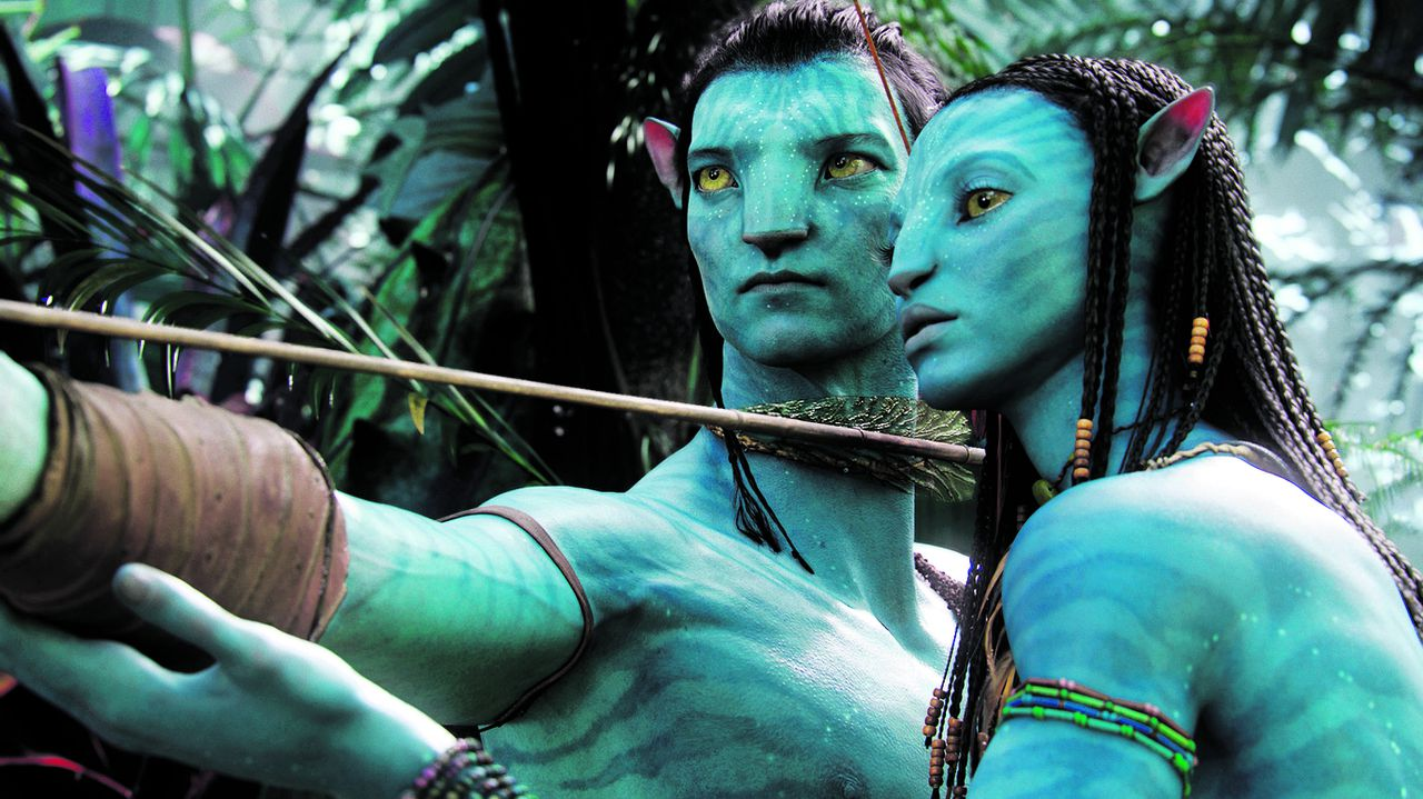 """In this film publicity image released by 20th Century Fox, the character Neytiri, voiced by Zoe Saldana, right, and the character Jake, voiced by Sam Worthington are shown in a scene from, """"Avatar."""" The film was nominated for a Golden Globe award for best motion picture drama, Tuesday, Dec. 14, 2009. The Golden Globe awards will be held Jan. 17 in Beverly Hills, Calif. (AP Photo/20th Century Fox)"""
