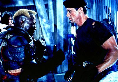 Airdate: Saturday, January 20 on NBC (8:30-11 p.m. ET) DEMOLITION MAN -- NBC Theatrical -- Pictured: (l-r) Wesley Snipes as Simon Phoenix, Sylvester Stallone as John Spartan --Warner Bros. photo
