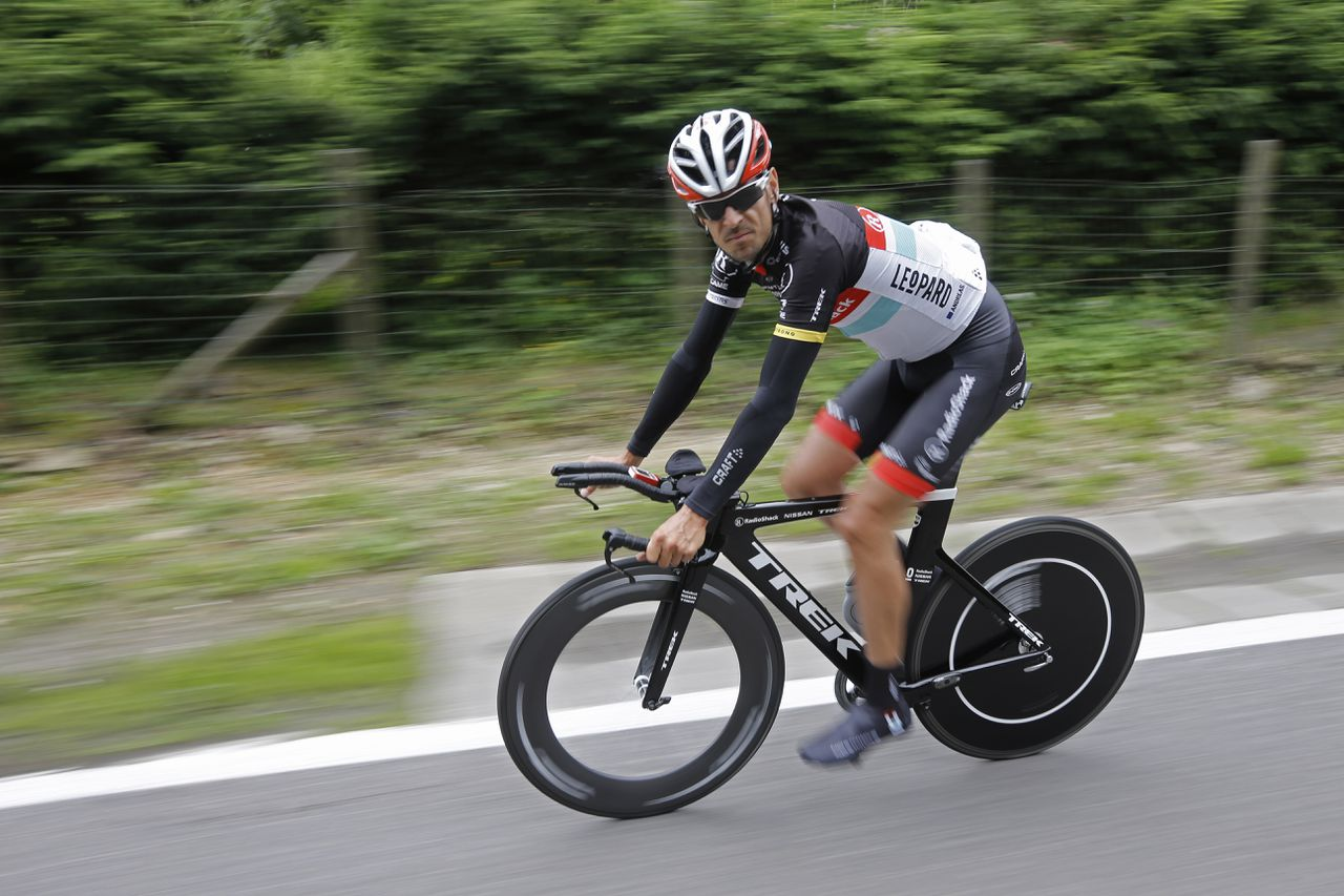 Germany's Andras Kloden trains with his teammates near Francorchamps, Belgium, Friday June 29, 2012. The Tour de France cycling race starts on Saturday June 30 with the prologue, an individual time trial over 6,4 kilometers (4 miles) with start and finish in Liege, Belgium. (AP Photo/Laurent Cipriani)