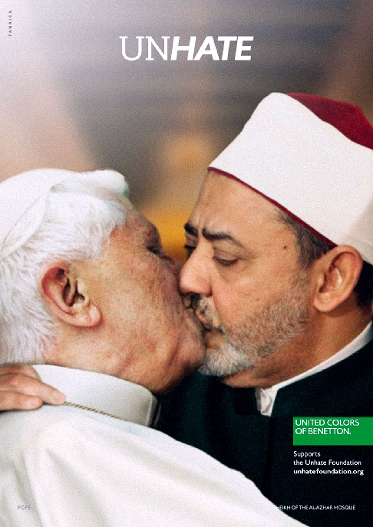 """RESTRICTED TO EDITORIAL USE - MANDATORY CREDIT """"AFP PHOTO / FABRICA / UNHATE FOUNDATION BENETTON"""" - NO MARKETING NO ADVERTISING CAMPAIGNS - DISTRIBUTED AS A SERVICE TO CLIENTS This handout picture released by Italian clothes company Benetton shows a photo montage showing Pope Benedict XVI kissing on the lips Egypt's Ahmed el Tayyeb, imam of the Al-Azhar Mosque in Cairo. Benetton backed down and pulled the photo montage showing the pope kissing a leading imam from its new global ad campaign on November 16, 2011 after the Vatican issued a stern condemnation. AFP PHOTO / UNHATE FOUNDATION BENETTON"""