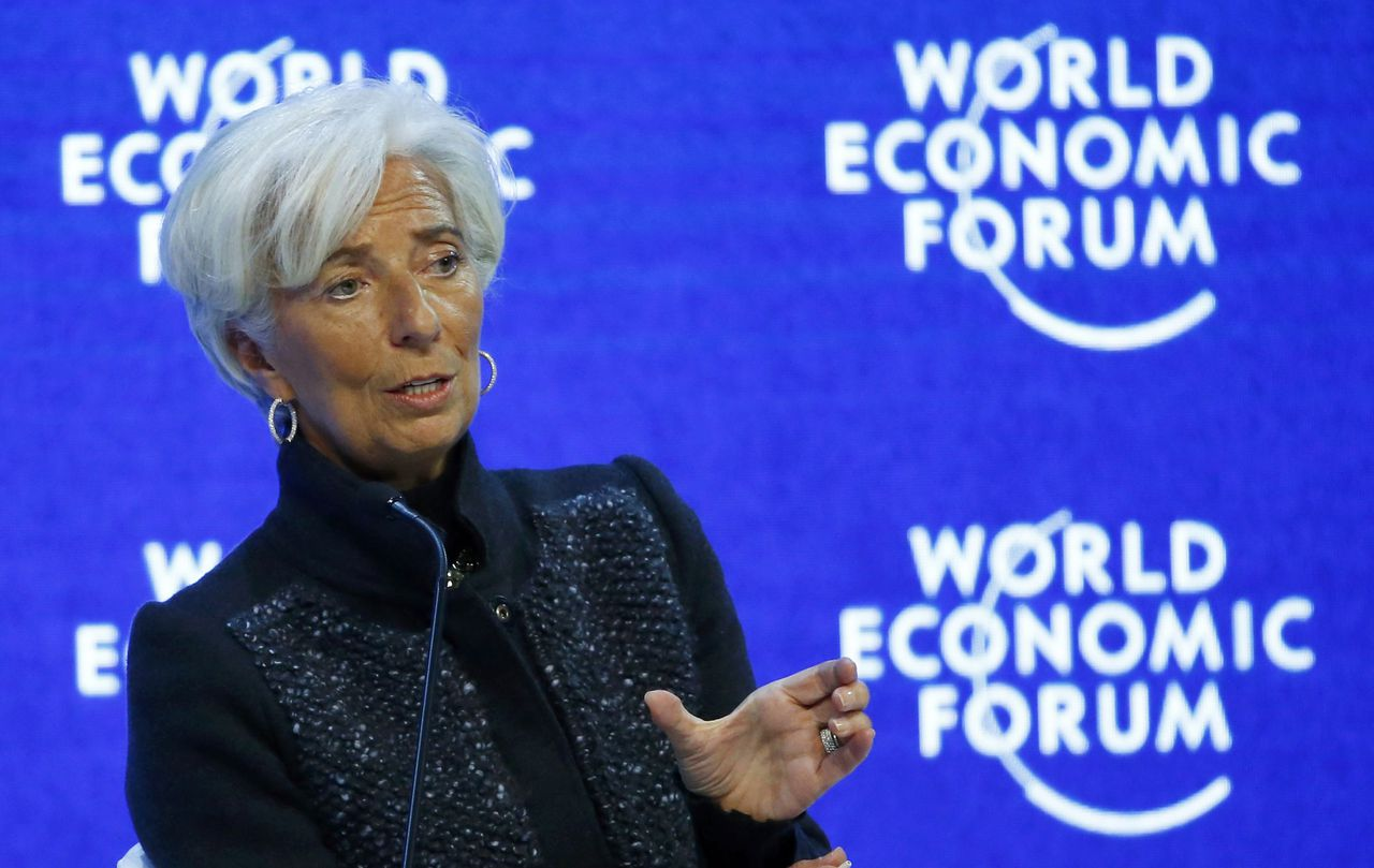 IMF-chef Christine Lagarde op Davos.
