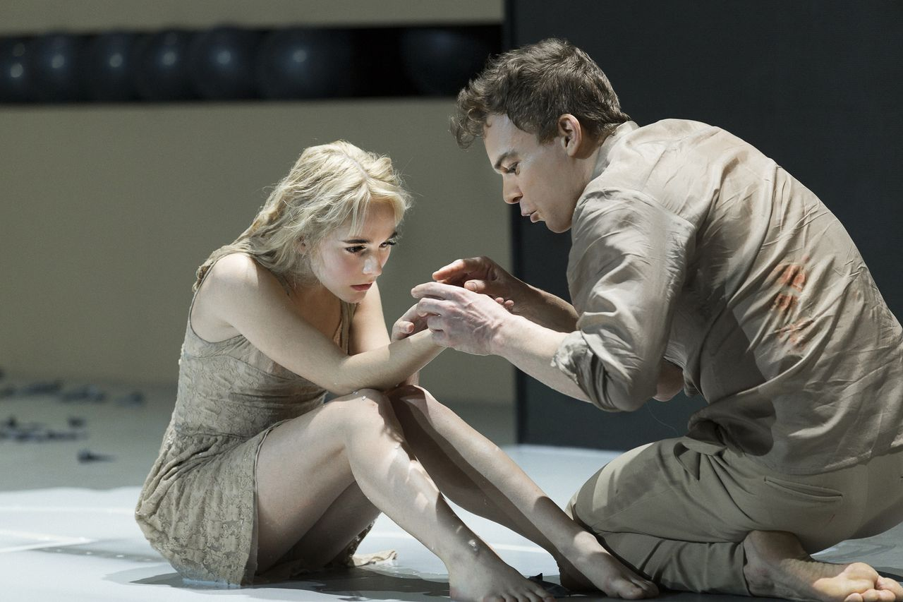 "Sophia Anne Caruso, left, and Michael C. Hall perform in a scene from David Bowie and Enda Walsh's ""Lazarus at the New York Theatre Workshop."