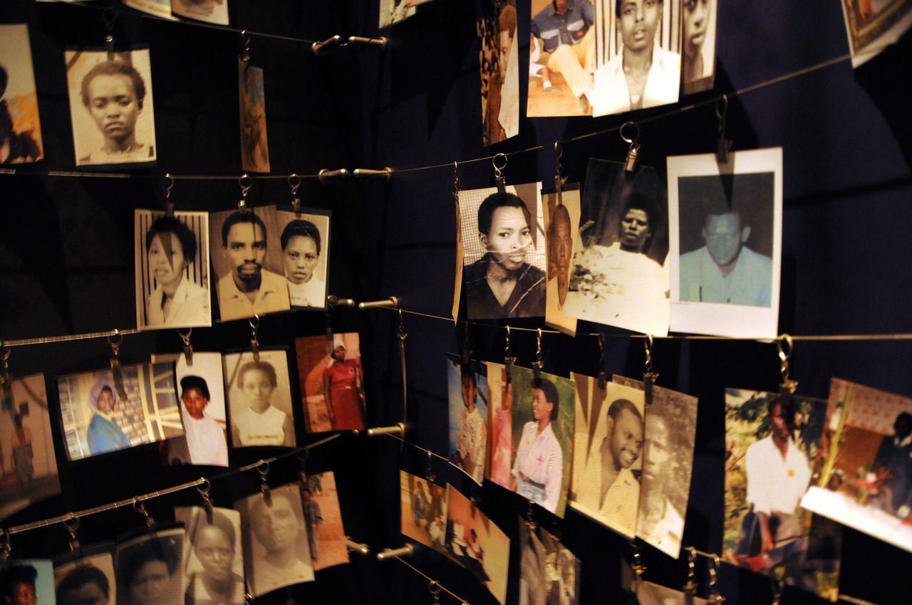 Photos of victims of the 1994 Rwandan Genocide hang in the Kigali Genocide Memorial in Kigali, Rwanda on April 7, 2012. In the quickest and bloodiest massacre since the Holocaust, the 1994 Rwandan Genocide claimed approximately 800,000 mostly Tutsi lives in the span of 100 days. AFP PHOTO/STEVE TERRILL